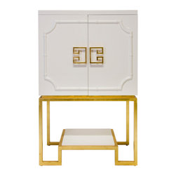 Worlds Away - Anna White Bar Cabinet - White lacquered bar cabinet with gold leaf hardware and base. Interior adjustable glass shelves and light.