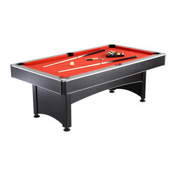 Blue Wave - Blue Wave 7' Pool Table with Table Top MDF - 7-foot pool table with table tennis top quality billiards table has the extra bonus of table tennis - all at this great price! our high quality line of game tables now boasts a 7-foot pool table. If you love to play pool, this table has quality features and the compact 7-foot playing surface fits in many game rooms where a larger table won't. Double the fun with the included table tennis table top! includes all the accessories you need to play pool and table tennis. Add this versatile table to your rec room for hours of gaming fun! 7-foot pool table has these great features: pool table dimensions: 84; l x 46; w x 31; h; weight: 250 lbs.; pool table playfield dimensions: 74. 75; l x 36. 75; w x 3/4; thick MDF with red felt; blue two-Piece table tennis top with black edge trimming (84 l x 46 w x 12 thick); silver laminate top rail with ; white inlay sights and chrome-plated corner cap; black matte laminated side and end panels with black plastic end corner; black plastic drop pockets; pool table accessories: two two-Piece 57; pool cues, 2-1/4; pool balls, one plastic triangle, and chalk; table tennis accessories: net, posts, two paddles, and two table tennis balls