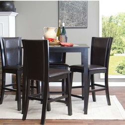 Baxton Studio - Baxton Studio Wing Brown Modern 5-piece Counter Set - The Wing counter dining set features curves that arc ever-so gently among the chair backs while the table stands straight and proud in subtle contrast. The dark-brown stain finish and faux-leather seat upholstery unify looks and comfort.