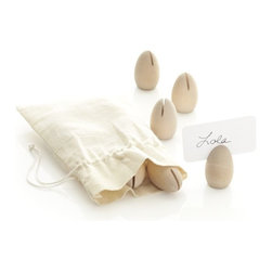 Wooden Egg Place Card Holders, Set of 12 - Having a more formal breakfast/brunch? I love these neutral-colored, egg-shaped name card holders.