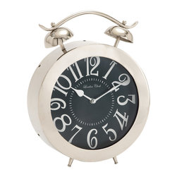 Bold and Bubbly Stainless Steel Table Clock - Description: