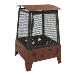 Landmann - Haywood Fireplace with Taller Sidewall, Stars N Moon Cutouts - Make the stars and the moon come out tonight with this outdoor fireplace.  The taller sides and a spark guard shields you from flying embers while still allowing you to toast your tootsies.