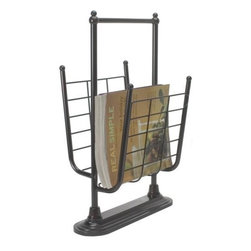 Organize It All - Free Standing Magazine Rack - Designed to cradle magazines, newspapers and books in the steel wire basket, this bathroom accessory saves space and adds style to even small bathrooms.