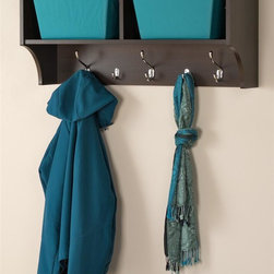 Prepac - 36 in. Hanging Entryway Shelf - Perfect for townhouses and condos. Help to keep gloves, hats, coats and jackets. Suitable for any front hallway, mudroom or home office. Two compartments have room for everything from baskets to books. Three large hooks provide sturdy storage for outerwear. Two smaller hooks are ideal for scarves, purses and bags. Easy to install with two-piece hanging rail system. Weight capacity: 40 lbs.. Warranty: Five years. Made from CARB-compliant, laminated composite woods. Espresso finish. Made in North America. Cubbie: 15.75 in. W x 10 in. D x 8.75 in. H. Overall: 36 in. W x 11.5 in. D x 16.5 in. H