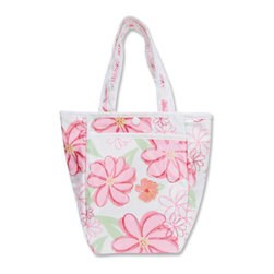 """Trend Lab - Diaper Bag - Hula Baby Mini Tote - Trend Lab's Mini Tulip Tote is the perfect on-the-go accessory for quick outings where a large diaper bag is unnecessary. It's perfect for short shopping trips and can hold a bottle, diapers, wipes and other small necessities! Or use this wonderful bag as a toy bag, beach bag, lunch tote, or cosmetic bag. This Mini Tulip Tote allows you to conveniently pack the essentials and go!. Hula Baby Mini Tulip Tote features oversized exotic floral print in sherbet colors of bubblegum, hot pink, flamingo, magenta, sage green, and canary yellow on a clean white base with a smaller sized floral print trim and lining. Bag features a laminated exterior for easy clean up and durability, a snap closure and one exterior pocket. Bag measures 7"""" x 9 1/2 """" x 4"""" and features two handles measuring 16 1/2 """" in length."""