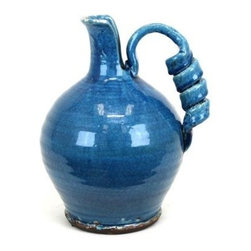 Urban Trends Collection - 13.5 in. Turquoise Tuscan Ceramic Vase - 11 in. W x 11 in. L x 13.5 in. H
