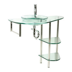 Renovators Supply - Glass Sinks Glass/Chrome Cordoba Console Glass Sink - Glass Sinks: the tempered glass Cordoba console sink package comes complete with faucet, pop-up drain and p-trap, two glass shelves, chrome towel bar, and semi submerged vessel.