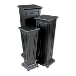 "Uttermost - Uttermost 20641  Keir Black Plant Stands, Set/3 - This set of three plant stands has a matte black finish. sizes: sm-11""x29""x11"", med-12""x35""x12"", lg-14""x41""x14"""
