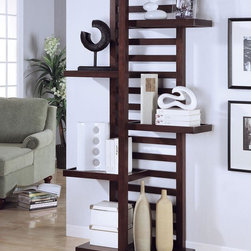 Coaster - Cappuccino Transitional Bookcase - This wall unit is functional and has plenty of storage space and surface area for display.