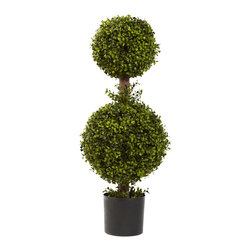 "Nearly Natural - Nearly Natural 35"" Double Boxwood Topiary - Man has been taking trimmers and clippers to Boxwoods for years. That's because this lovely shrub is one of nature's most hardy specimens, and does very well when shaped. This classic ""double ball"" Topiary captures the elegance of curving foliage, while retaining the lovely green color that makes the boxwood such a favorite. Plus, you'll never have to re-trim it! Comes complete with a pot."