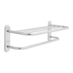 "Liberty Hardware - Liberty Hardware D2788PC Polished Chrome Designer Towel Shelves 26"" - 26 Inch Concealed Mount Towel Shelf with One Bar from the Designer Towel Selves SeriesThe Designer Towel Series from Liberty Hardware is a collection of metal commercial towel shelves with an array of configurations that fit a variety of towel capacities and applications. From simple shelves, to rack style products, the Designer Towel Series has something for you.This 24 inch towel shelf is made of durable steel material and is finished with a sleek and durable design and concealed mounting that blends with a variety of modern decor. The 24 inch shelf accommodates plush towels and is ideal for hotel bathrooms, while the one towel bar below the shelf adds extra storage space for additional towels of assorted sizes.Features:Beautiful Finish Complements Wide Array of DecorConstructed with Brass StampingMounting Hardware IncludedDesigned for Easy InstallationSpecifications:Width: 26.1 InchesHeight: 8.50 InchesDepth: 9.88 InchesCenter to Center: 24.0 InchesProduct Weight: 3.6 PoundsSince 1942, Liberty Hardware Manufacturing Corporation has built its reputation by offering high quality decorative and functional hardware products at an exceptional value. The company proudly offers its extensive line of hardware products through fine retail outlets and original equipment manufacturer (OEM) distribution channels across the country."