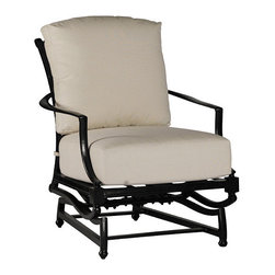 Frontgate - Westport Spring Outdoor Lounge Chair with Cushion, Patio Furniture - Solid cast aluminum design. Finished with specially formulated, high UV resistant Ancient Earth powdercoating. Superior grade molten aluminum alloy is hand poured into permanent molds, creating a smooth, clean design. Generously proportioned frames accommodate plush outdoor cushions. Cushions feature exclusive Sunbrella&reg fabrics, the finest solution-dyed, all-weather material available. The Westport Spring Lounge Chair by Summer Classics&reg is perfect for comfortable outdoor relaxation. Crafted of solid cast aluminum, it features an overscaled frame, plush cushion, and handsome double X-back design. Combined with the flow of the arms and back, Westport beautifully blends classic and modern style. Part of the Westport Collection by Summer Classics&reg . . . . . Some assembly required. Note: Due to the custom-made nature of the cushions, any fabric changes or cancellations made to the Westport Collection must be made within 24 hours of ordering.