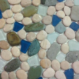 Sea Glass Tile And Pebbles Indah Mosaic Blend, Box - Sold by the box 10 sheets