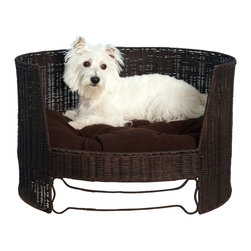 Wicker Dog Day Bed with Indoor Cushion - Just because you love your dog doesn't mean your love of style goes out the window. Give your pup (up to 12 pounds) a chic place to curl up. The faux-rattan bed will be a cozy and stylish addition to your home.