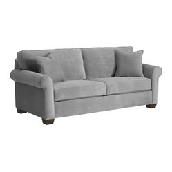 Apt2B - Lafayette Sofa, Stone - This cozy, classic sofa looks like the perfect place to kick back at the end of the day. The smooth upholstery comes in several soft shades that go with everything, so whether you like to dress it up, spice it up or keep it casual and simple, this sofa is sure to fit right in.