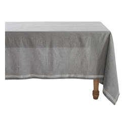 "Coyuchi - Simple Stitch Chambray Tablecloth 70""x108"" Charcoal w/White - Linen and cotton yarns, dyed slightly different hues before weaving, lend our tablecloth soft, nuanced color and wonderful drape. Stitched stripes run along each edge and cross at the corners."