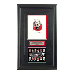 "Heritage Sports Art - Original art of the NCAA  Georgia Bulldogs uniform - This beautifully framed NCAA football piece features an original piece of watercolor artwork glass-framed in an attractive two inch wide black resin frame with a double mat. The outer dimensions of the framed piece are approximately 17� wide x 28� high, although the exact size will vary according to the size of the original piece of art. At the core of the framed piece is the actual piece of original artwork as painted by the artist on textured 100% rag, water-marked watercolor paper. In many cases the original artwork has handwritten notes in pencil from the artist. Simply put, this is beautiful, one-of-a-kind artwork. The outer mat is a rich textured black acid-free mat with a decorative inset white v-groove, while the inner mat is a complimentary colored acid-free mat reflecting one of the team�s primary colors. The image of this framed piece shows the mat color that we use (Red). Beneath the artwork is a silver plate with black text describing the original artwork. The text for this piece will read: This is an original, one-of-a-kind watercolor painting of the Georgia Bulldogs mascot ""UGA"" and was used in the creation of this Georgia Bulldogs uniform evolution print and thousands of Georgia products that have been sold across North America. This original piece of art was painted by artist Nola McConnan for Maple Leaf Productions Ltd. Beneath the silver plate is a 6.5� x 7� reproduction of a uniform evolution print that celebrates the history of the team. The print beautifully illustrates the chronological evolution of the team�s uniform and shows you how the original art was used in the creation of this print. If you look closely, you will see that the print features the actual artwork being offered for sale. The 6.5� x 7� print is shown above. The piece is framed with an extremely high quality framing glass. We have used this glass style for many years with excellent results. We package every piece very carefully in a double layer of bubble wrap and a rigid double-wall cardboard package to avoid breakage at any point during the shipping process, but if damage does occur, we will gladly repair, replace or refund. Please note that all of our products come with a 90 day 100% satisfaction guarantee. Each framed piece also comes with a two page letter signed by Scott Sillcox describing the history behind the art. If there was an extra-special story about your piece of art, that story will be included in the letter. When you receive your framed piece, you should find the letter lightly attached to the front of the framed piece. If you have any questions, at any time, about the actual artwork or about any of the artist�s handwritten notes on the artwork, I would love to tell you about them. After placing your order, please click the ""Contact Seller"" button to message me and I will tell you everything I can about your original piece of art. The artists and I spent well over ten years of our lives creating these pieces of original artwork, and in many cases there are stories I can tell you about your actual piece of artwork that might add an extra element of interest in your one-of-a-kind purchase."