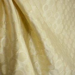 Softline - Rockafeller Beige Modern Geometric Stripe Drapery Fabric By The Yard - Light beige in color, Rockafeller Beige has a contemporary, geometric striped pattern of wavy stripes and circles.  Use Rockafeller Beige as window treatments and bedding.