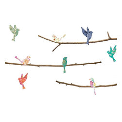 Walls Need Love - Paisley Birds & Branches Decals - The birds and branches are printed as separate pieces on our Fab-Tac material, so you can remove and reposition them until you get the layout just right.
