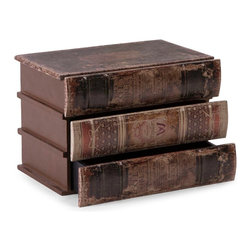 "Imax Worldwide Home - Mayland Storage Box with Drawers - The faux stacked books open to reveal drawers, great for storing small items! Easily pairs with any library or masculine juvenile decor!; Materials: 60% Mdf, 40% Pu Leather; Country of Origin: China; Weight: 4.76 lbs; Dimensions: 10.5""H x 6.75""W x 7.5"""