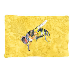 Caroline's Treasures - Bee on Yellow Fabric Standard Pillowcase Moisture Wicking Material - Standard White on back with artwork on the front of the pillowcase, 20.5 in w x 30 in. Nice jersy knit Moisture wicking material that wicks the moisture away from the head like a sports fabric (similar to Nike or Under Armour), breathable performance fabric makes for a nice sleeping experience and shows quality. Wash cold and dry medium. Fabric even gets softer as you wash it. No ironing required.