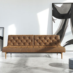 Oldschool Leather Chesterfield Sleeper Sofa Bed -