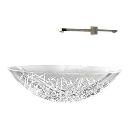 "Art Design - Luxure ICE Round Vessel Sink in Hand Cut Crystal 17.7"" - Vessel Bathroom Sink"