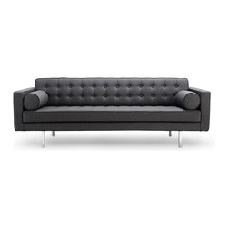 RED LIVING - Chelsea Dark Grey 3-Seat Couch - The Chelsea 3 Seater Couch draws its inspiration from 20th century cubism. The Chelsea couch is long enough to be used as a daybed. The Chelsea range was designed with elegant sophistication in mind, presenting you with this elegant high quality, comfortable sofa.