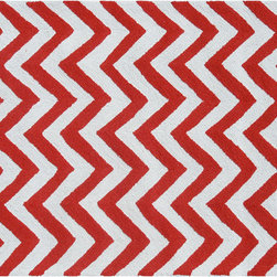 The Rug Market - Chevron Area Rug, Red/White -