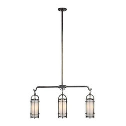Hudson Valley - Portland Three-Light Historic Nickel Island Pendant - - We?ve adapted the classic coach lamp to create our Portland collection. Opal glass evenly diffuses glowing white light from within the lamps? clean-lined, cylindrical cages. Hook-and-eye hangers provide the authentic details that make our fixtures standout. Portland adds a hint of rustic charm to a style that carries contemporary allure  - Finial Shade Attachment   - Bulb is not included Hudson Valley - 8533-HN