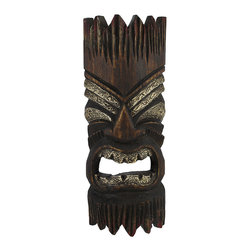Zeckos - 12 Inch 2 Toned Tiki Wall Mask Hand Textured Eyes/Teeth - This incredibly realistic tiki mask will add the perfect touch to any Polynesian themed room or tiki bar Each mask is handcrafted by artisans in Indonesia of Albesia wood, which is lightweight and easily replenished. It measures 12 inches tall, 5 inches wide, and 2 inches deep. The mask is stained and features textured eyes and teeth, adding a fun accent wherever it is displayed. It easily mounts to the wall with just one nail or picture hanger, and is sure to be admired by all note: Because these masks are handcrafted, they may differ slightly than the one pictured.
