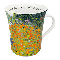 Konitz - Set of 4 Famous Art Mugs 'Les Fleurs Chez Les Peintres' - Klimt - The green and orange floral scene shown on this mug is the painting Jardin de ferme by Austrian artist Gustav Klimt. French script writing on the interior reads the name of the artist and painting.