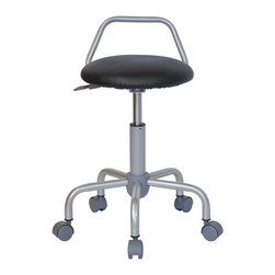 Flash Furniture - Flash Furniture Ergonomic Drafting Stool in Black - Flash Furniture - Drafting Chairs - WLST08GG - This backless stool is practical for any fast-paced environment. The sleek modern design allows the stool to conform in several environments with its silver metal frame and raised backrest. This stool can be used in a multitude of environments from the Classroom Doctor's Offices Hospitals Garages and Workshops. [WL-ST-08-GG]