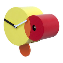Progetti - Kandinsky Yellow/Red Wall Clock - It is made of three intersecting circles of different sizes and colors reminiscent of the art of Kandinsky, which was inspired by the balance of power and weight between the geometric elements and their interaction with the colors. Just the circle took on a special meaning for the artist, who said, 'the circle, sometimes can not be called anything but romantic.' Battery quartz movement. The Cuckoo strike is switched off automatically during the night controlled by a light sensor.