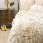 Georgina Duvet, Cream - This decadent duvet is billowy and plush. I would implement afternoon siestas in my home with bedding as pretty as this.