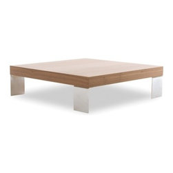 """Tema - Hempel Coffee Table - Sometimes the coolest accents are found in the simplest pieces. The Hempel coffee table sports a smooth and soft top with alternating metallic legs that create a balance between thicker and heavier elements. Designed by: TemaHome Design Team Features: -Hempel collection. -Metallic legs. -Material: Veneer, lacquer / medium-density fiberboard / honeycomb. -Overall dimensions: 10"""" H x 35"""" W x 35"""" D."""