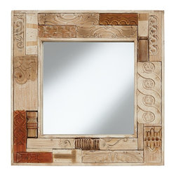 """Pacific Coast - Collage 30"""" Square Reclaimed Wood Wall Mirror - Add a vintage accent to your decor with this collage wood square wall mirror. Inviting remnants of reclaimed wood are pieced together to create the frame of this square wall mirror. The decorative collage look features various wood tones depending on the original finishes. A distressed white painted border highlights the warmth of the wood and adds an attractive finish touch. With convenient rings on the back for easy vertical hanging."""