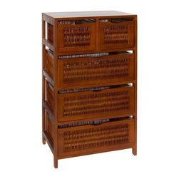 OIA - Chestnut 5 Drawer Storage Chest - Store away extra clutter with this Five Drawer Storage Chest in a chestnut finish. This large storage chest can be used in the bedroom or any other room of the house. It is large in size giving you plenty of storage room for household items. It comes with five removable drawers. Features: -Five drawers.-Provides plenty of storage space for household items.-Wood and willow construction.-Chestnut finish.-Chestnut collection.-Collection: Chestnut.-Distressed: No.Dimensions: -35.5'' H x 19.75'' W x 13.75'' D, 23.5 lbs.-Overall Product Weight: 23.5 lbs.Warranty: -Manufacturer provides a 30 day warranty.