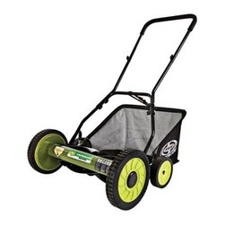 """Snow Joe - 18 Inch Manual Reel Mower - Sun Joe Mow Joe 18"""" Manual Reel Mower with Catcher for medium lawns 18"""" Cutting Width, Tailor cutting heights up to 2.44"""" deep 5 steel blades, 6.6 gallon Grass Catcher Capacity 9-position manual height adjustment. Compact design and easy to assemble. Comfortable foam grip. Weight: 28 pounds."""