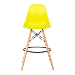 Barstool Slope Chair in Pop Yellow - Take iconic mid-century modern design to new heights. Inspired by the classic design aesthetic of our Mid-Century Slope Chair, the Barstool Slope Chair offers stylish modern seating for your counter-height needs. The chair features a smooth polypropylene seat and natural wood dowel legs. We see this chair fitting in at the kitchen island, providing a comfortable seat for late night stacks or kitchen chatter. Available in a variety of vibrant colors, the chair will spruce up your décor without overpowering the room.
