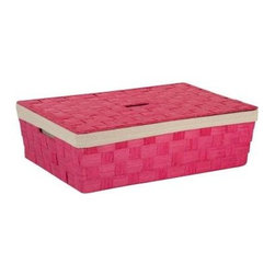 Honey Can DO - Paper Rope Underbed Basket - Pink - Our Paper Rope Large Basket with Liner, Pink. Keep clutter at bay with our large paper rope basket with liner. The recycled and repurposed parchment is formed into strap-like fibers, making the basket durable and eco-friendly. The wire frame adds to its strength, and the built-in carrying handles make it easy to transport. This basket provides endless storage options for any room of the house and its neutral color matches any decor. Includes removable lid with cut-out handle.