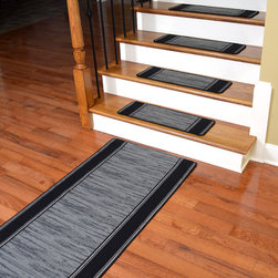 "Dean Flooring Company - Washable Non-Skid Carpet Stair Treads - Boxer Grey (13) PLUS a 5' Runner - Washable Non-Skid Carpet Stair Treads - Boxer Grey (13) PLUS a Matching 5' Runner : Washable non-skid carpet stair treads by Dean Flooring Company. Helps reduce slips on your hardwood stairs. Great for helping your dog easily navigate your slippery staircase. Polypropylene pile with a machine washable non-skid latex backing (wash on delicate in cold water, line dry). Also easy to spot clean or vacuum. Reduces noise. Reduces wear and tear on your hardwood stairs. Each set contains 13 pieces PLUS a matching 5' runner. Each tread is approximately 25"" x 9"". Easy DIY installation with double-sided carpet tape (not included). Adds an attractive fresh new look to your staircase."