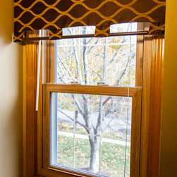 Custom Top Treatment - Board Mounted by One Stop Decorating - Adding a custom top treatment to your window works well on any size window, even these smaller ones.