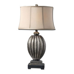 Uttermost - Uttermost Billy Moon Table Lamp in Antiqued Silver Champagne - Shown in picture: Textured Base Finished In An Antiqued Silver Champagne Leaf With Black Distressing And A Taupe Gray Glaze. Textured base finished in an antiqued silver champagne leaf with black distressing and a taupe gray glaze. The oval semi drum shade is a silken golden champagne linen fabric.
