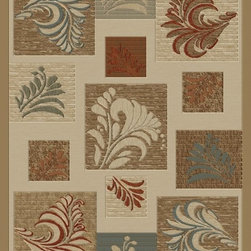"""Concord Global - Concord Global Soho Leafs Ivory Contemporary 7'10"""" x 10'10"""" Rug (6072) - Soho collection is full of contemporary, geometric patterns which add texture to any room. Made of heavy heat-set olefin, this collection has the look and feel of authentic hand made rugs at a fraction of the price. Our recent additional patterns include a larger drop stitch effect giving the new designs a hand carve feel."""