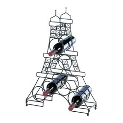 KOOLEKOO - Eiffel Tower Wine Holder - Put your wine on display the French way! This countertop wine bottle holder has space for six bottles of your favorite vino, and its charming metal wire frame looks like one of the most iconic landmarks in the world!