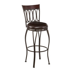 SEI - Brookshire Swivel Bar Stool - Enhance your home with fashionable convenience. The cast ovals and curved legs of this bar stool create a sleek and sophisticated look. A powder-coated, dark champagne finish and durable steel frame deliver lasting quality. It features bar height seating, a cozy foam seat covered in rich dark brown vinyl, and a backrest accent in a rich walnut finish bentwood. A full 360 degree swivel and footrest ring provide comfort and ease. The curvaceous form and attractive finish coordinate with traditional to contemporary decor styles. Ideal for the kitchen, breakfast nook, bar, or dining area.