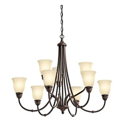 Kichler Lighting - KICHLER 42066OZ Durham Transitional Chandelier - Less is more this 9 light chandelier from the Durham(TM) Collection. Its understated shapes and soft, clean lines create a relaxing, calming environment. With our vintage Olde Bronze(R) Finish and warm Light Umber-Etched Glass, you can be assured of a streamlined, timeless design that makes an impressive statement without being pretentious.