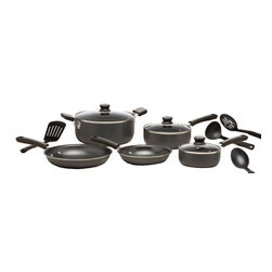 "T-Fal/Wearever - 10 Pc. Cookware Set Gray - WearEver Admiration - Gray Nonstick Exterior - Nonstick Interior - Riveted Stay-Cool Handles - Glass Covers. 1 Qt. & 2 Qt. Sauce/Cover. 5 Qt. Dutch Oven/Cover. 8"" & 10"" Sautés. 4 Utensils."