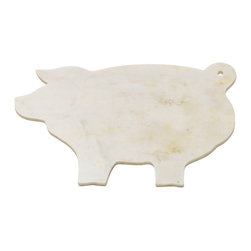 "Go Home - Marble ""Piggy"" Cheeseboard- Set Of 2 - Piggy polished marble cheeseboard gives the selection a striking display. Its refined material is formed in the silhouette of a pig, curly tail and all. When placed at the center of a party, expect a steady stream of compliments."
